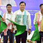 Chief Minister of Assam Sarbananda Sonowal Along With Minister of State of Railways Rajen Gohain Jointly Flagged Off New Train Service Between Dibrugarh & Silchar