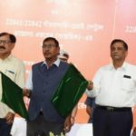 Minister of State of Railways Shri Rajen Gohain Flags Off Santragachi-Chennai Central Antyodaya Express